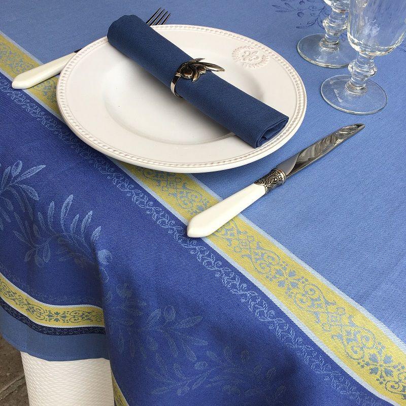 Serviette de table en coton uni bleu cyclades