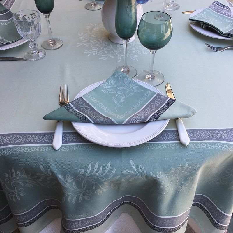 "Rectangular Jacquard tablecloth, Teflon ""Olivia"" green, by Tissus Toselli"