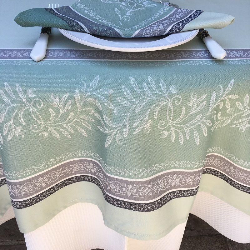 "Square Jacquard tablecloth, Teflon ""Olivia"" green, by Tissus Toselli"