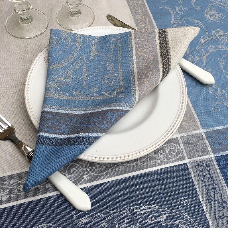 """Serviette de table Jacquard """"Versailles"""" gris et bleu, Tissus Toselli"""