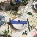 "Tessitura Toscana Tellerie, round linen tablecloth ""Ibisco"""
