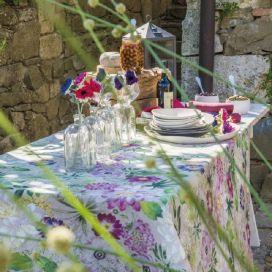 "Tessitura Toscana Tellerie, rectangular linen tablecloth ""la Vie en Rose"""