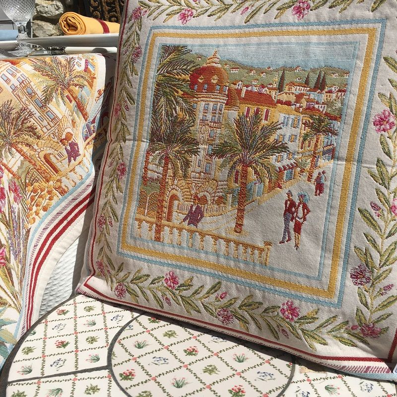 """Provence Jacquard cushion cover, """"Nice"""" from Tissus Toselli in Nice"""