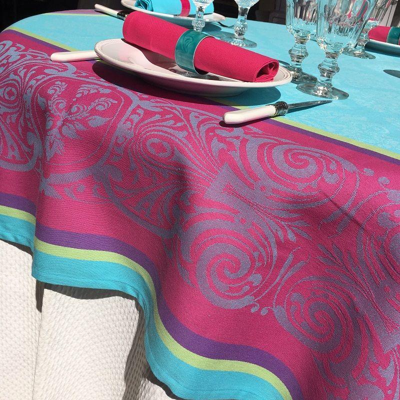 "Rectangular webbed Jacquard tablecloth ""Renaissance"" turquoise, fuchsia, Tissus Toselli"
