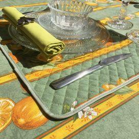 """Set de Table en  coton  matelassé  """"Citrons"""" Jaune et vert"""