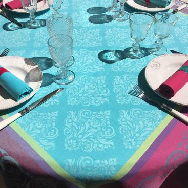 "Square webbed Jacquard tablecloth ""Renaissance"" turquoise, fuchsia, Tissus Toselli"