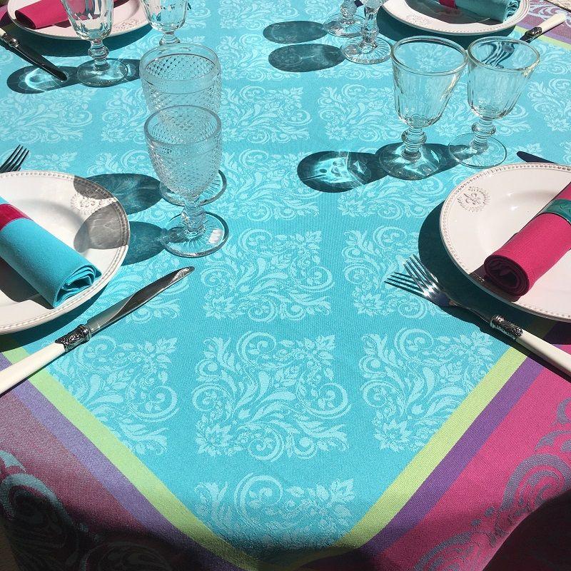 "Square webbed Jacquard tablecloth ""Renaissance"" turquoise, fuchsia, Tissus Toselli"