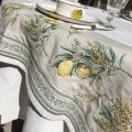 """Nappe rectangulaire Jacquard Citrons et mimosa """"Menton"""""""