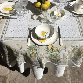 "Rectangular Jacquard tablecloth lemons and mimosa ""Menton"""