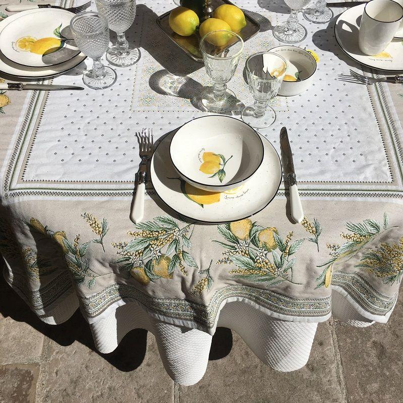 "Rectangular Jacquard tablecloth lemons and mimosa ""Menton"""