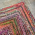 Colored rectangular jute an cotton rug