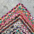 Tapis rectangulaire coloré en coton et jute