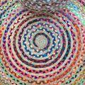 Tapis rond coloré en coton et jute
