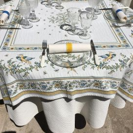 "Rectangular Jacquard tablecloth ""Moustiers"" ecru, green, by Maratd'Avignon"
