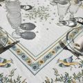 """Rectangular Jacquard tablecloth """"Moustiers"""" ecru and green"""