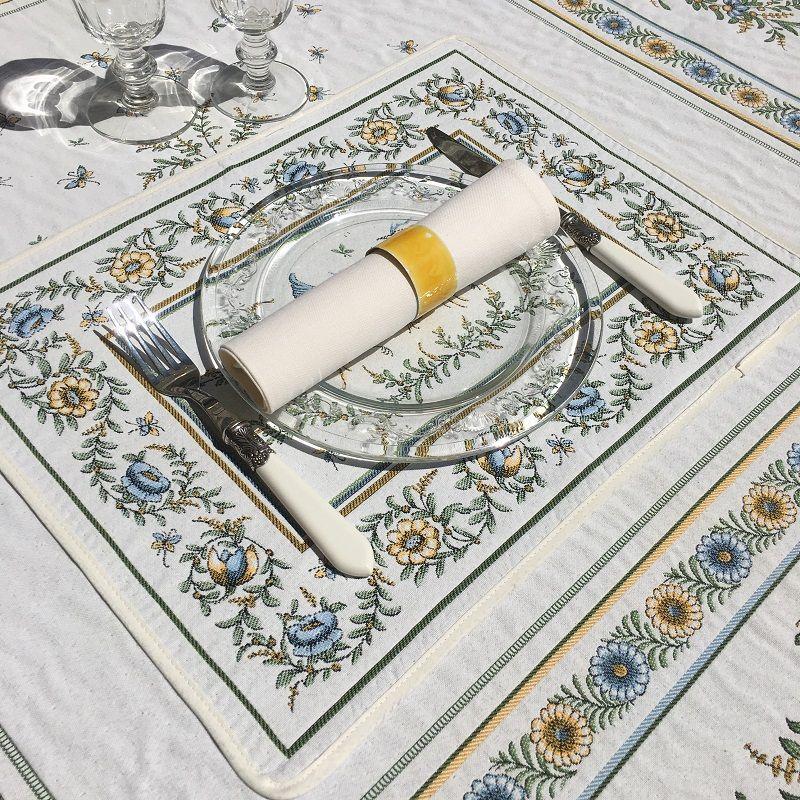 """Set de table Jacquard """"Moustiers"""" écru et vert Tissus Toselli, Nice"""