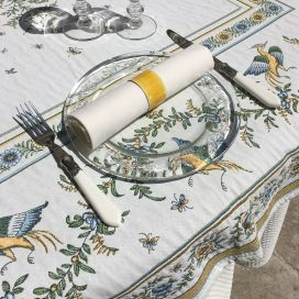 "Square Jacquard tablecloth ""Moustiers"" ecru, green, by Maratd'Avignon"