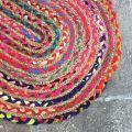 Tapis ovale coloré en coton et jute