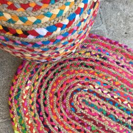Tapis ovale coloré en coton et jute PM