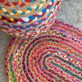 Colored oval jute and cotton rug SM