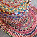 Pouf coloré en coton et jute