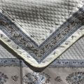 "Jacquard table runner or square table mats, pearl grey, bordure ""Faïence"""