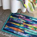"""Tiptap rug """"Poisson bleu"""" by Tessitura Toscana Telerie"""