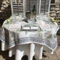 """Square Jacquard tablecloth citronniers et orangers """"Riviera"""""""