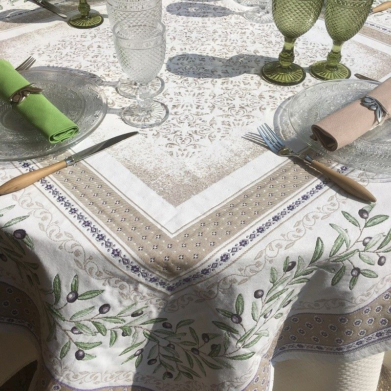 """Square Jacquard webbed tablecloth  Olives """"Lubéron"""" TISSUS TOSELLI, Nice"""