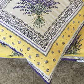"Provence Jacquard cushion cover, Olives and lavender ""Castillon"" yellow from Tissus Toselli in Nice"