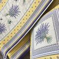 """Chemin de table lavandes et olives """"Castillon"""" jaune Tissus Tosseli"""