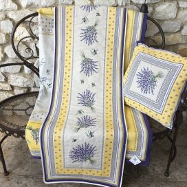 "Webbed table runner  lavandes et olives ""Castillon"" yellow Tissus Tosseli"