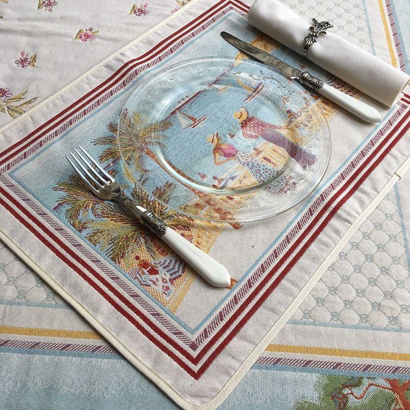 "Set de table Jacquard, Côte d'Azur ""Nice"" Tissus Toselli, Nice"