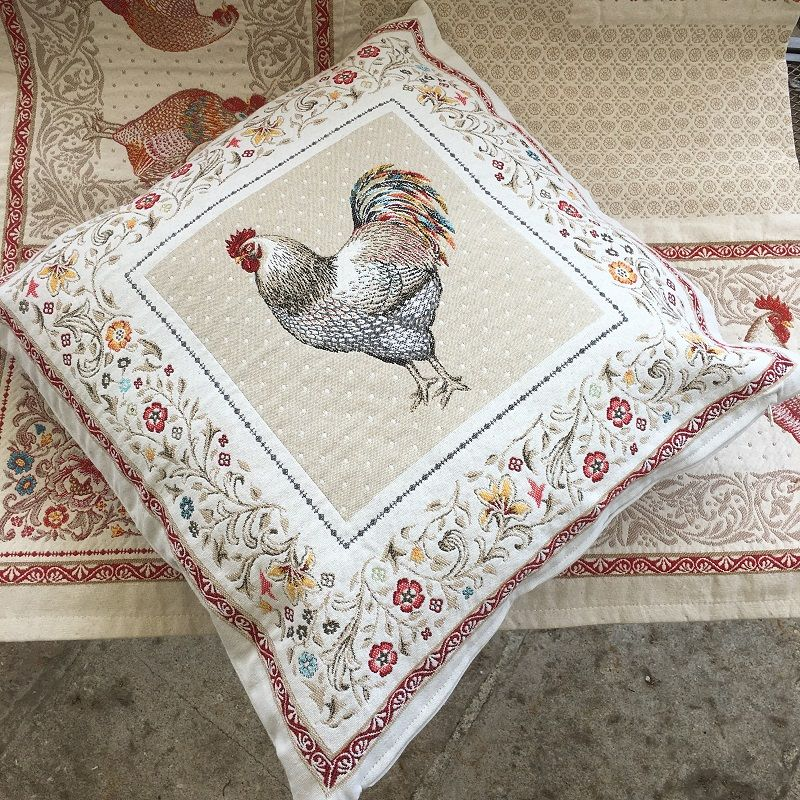 "Provence Jacquard cushion cover, ""Lafayette"" from Tissus Toselli in Nice"