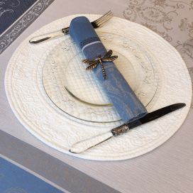 "Round table mats, Boutis fashion ""Mirabelle"" ecru by Sud-Etoffe"