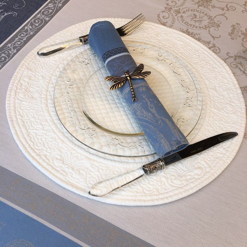 """Round table mats, Boutis fashion """"Mirabelle"""" ecru by Sud-Etoffe"""