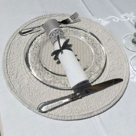 "Round table mats, Boutis fashion ""Mirabelle"" grey by Sud-Etoffe"