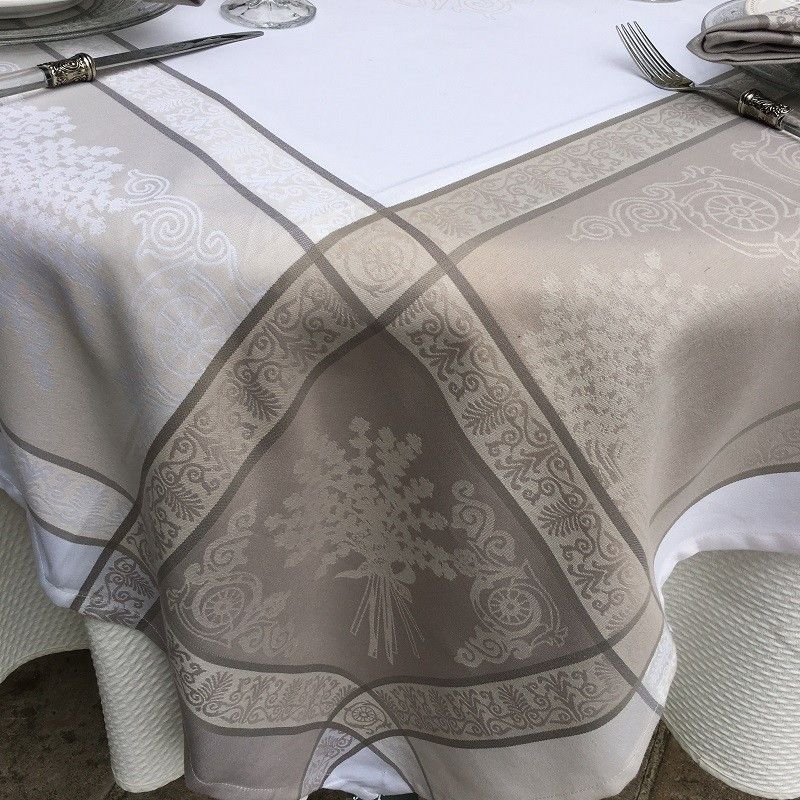 """Jacquard polyester tablecloth """"Lavandiere"""" beige from """"Sud Etoffe"""""""