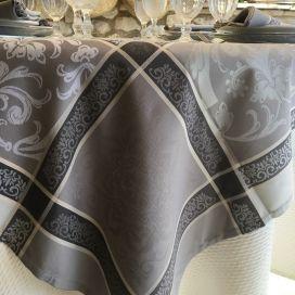 """Nappe carrée Sud Etoffe Jacquard polyester  """"Eygalière"""" grise"""