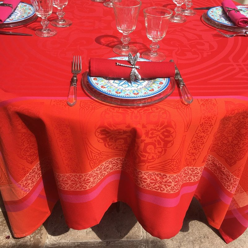 "Rectangular Jacquard polyester tablecloth ""Chamaret"" red and orange  from ""Sud Etoffe"""