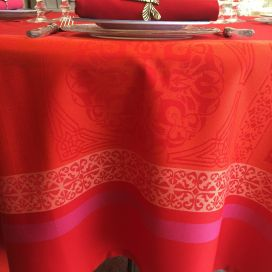 "Square Jacquard polyester tablecloth ""Chamaret"" red and orange  from ""Sud Etoffe"""