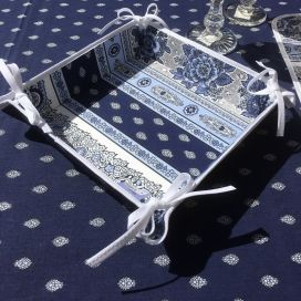 "Coated cotton bread basket with laces, ""bastide"" blue and white by ""Marat d'Avignon"""