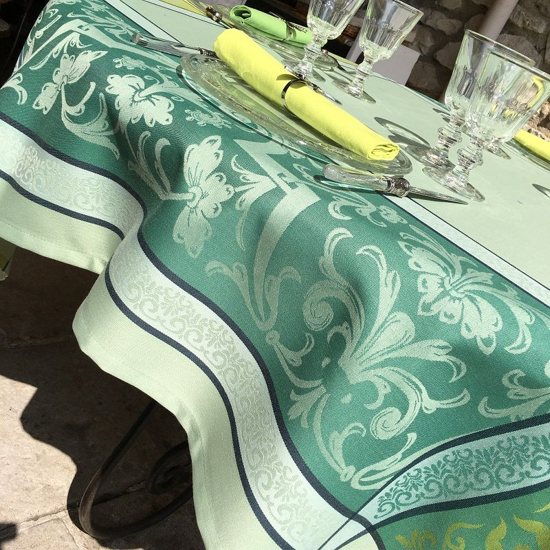 "Nappe rectangulaire Sud Etoffe Jacquard polyester  ""Eygalière"" vert et anis"