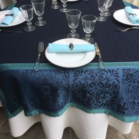 "Nappe rectangulaire Sud Etoffe, Jacquard polyester ""Alicante"" bleu navy"