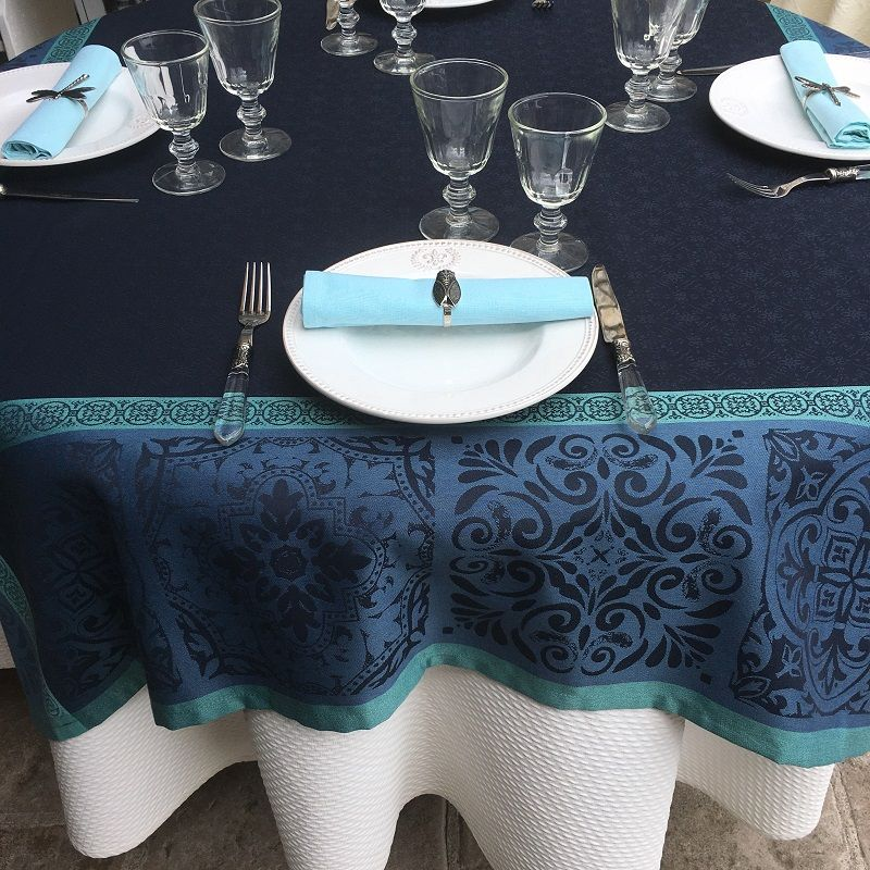 "Rectangular Jacquard polyester tablecloth ""Alicante"" blue navy from ""Sud Etoffe"""