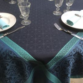 "Square Jacquard polyester tablecloth ""Alicante"" blue navy from ""Sud Etoffe"""