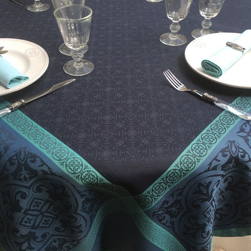 """Square Jacquard polyester tablecloth """"Alicante"""" blue navy from """"Sud Etoffe"""""""