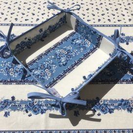 "Coated cotton bread basket with laces, 'Tradition"" blue and white ""Marat d'Avignon"""