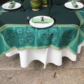 "Rectangular Jacquard polyester tablecloth ""Alicante"" green from ""Sud Etoffe"""