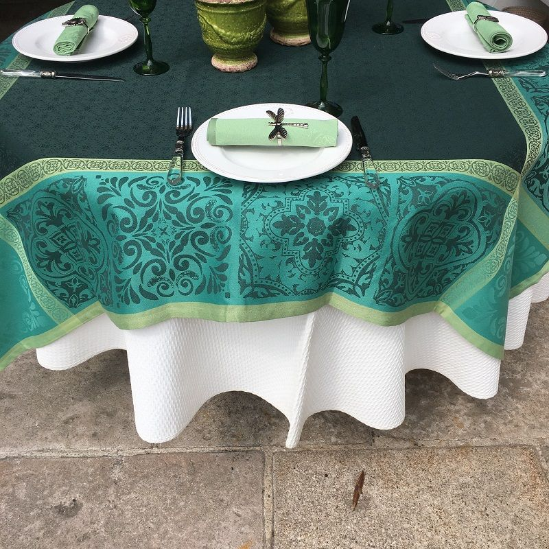 """Rectangular Jacquard polyester tablecloth """"Alicante"""" green from """"Sud Etoffe"""""""